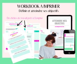 workbook objectif pour être organisée et productive